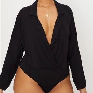Tops - Plus Black Jersey Blazer Detail Thong Bodysuit
